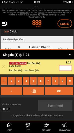 schedina app 888 sport